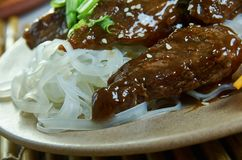 Honey Sriracha Mongolian Beef royaltyfria foton