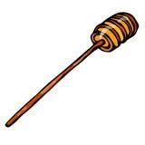 Honey Stick Dipper Sketch Illustrazione disegnata a mano di vettore isolata su un fondo bianco royalty illustrazione gratis