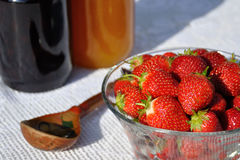 Honey with strawberry Stock Image