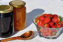 Honey with strawberry Stock Photography
