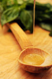Honey streaming into spoon Royalty Free Stock Photo