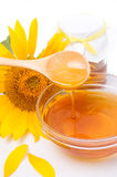 Honey and sunflower Stock Image