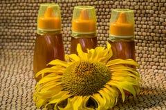 Honey and sunflower stock photo