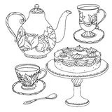 Honey tea with cups .Hand drawn vector illustration Royalty Free Stock Photos