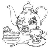 Honey tea with cups .Hand drawn vector illustration Stock Photo