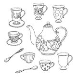 Honey tea with cups .Hand drawn vector illustration Royalty Free Stock Image
