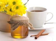 Honey, tea, flower and cinnamon Stock Photography