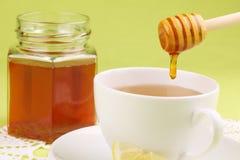 Honey tea with lemon. Healthy tea with honey and slice of lemon Stock Photos