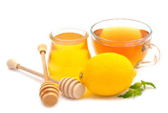 Honey, tea and lemon Royalty Free Stock Images