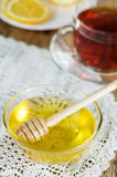 Honey, tea and lemons Stock Photo