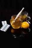 Honey, tea and medicine, Flue concept Stock Photos