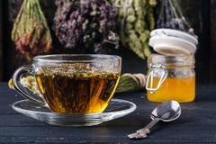 Honey with tea on rustic table backgound with herbs Stock Photo