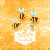 Honey template background. Vintage frame with Honey, bee, honey Royalty Free Stock Photography