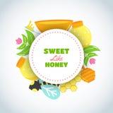 Honey Text dulce Fondo con los elementos planos de la miel Cartel con la abeja, colmena, tarro, panal Vector Fotos de archivo libres de regalías