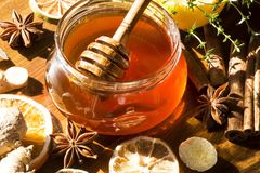 Honey with spices. Honey with thyme, anise and ginger royalty free stock photos