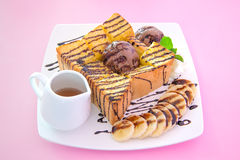 Honey toast banana and chocolate Stock Images