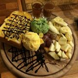 Honey toast. Bread ice cream and fruit Royalty Free Stock Photography