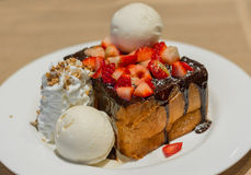 Honey Toast with chocolate lava and strawberry Stock Photography