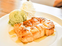 Honey toast. Dish on the table Royalty Free Stock Photography