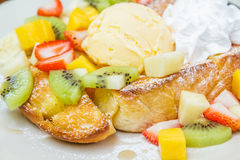 Honey toast with fruit Stock Images