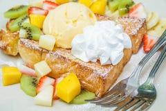 Honey toast with fruit Stock Photos