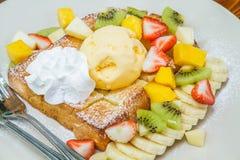 Honey toast with fruit Royalty Free Stock Image