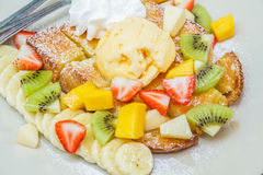 Honey toast with fruit Stock Photo