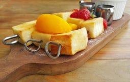 Honey toast with fruit Stock Photography