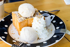 Honey toast with ice-cream Stock Image