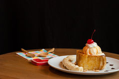 Honey toast with ice-cream and banana Stock Images