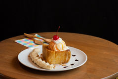 Honey toast with ice-cream and banana Royalty Free Stock Photography