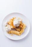 Honey toast with ice-cream and banana Royalty Free Stock Photography