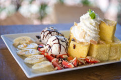 Honey toast with ice-cream, dessert Royalty Free Stock Photography