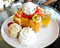 Honey toast with ice cream Royalty Free Stock Image