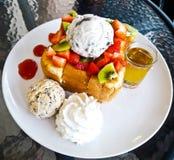 Honey toast with ice cream Stock Images