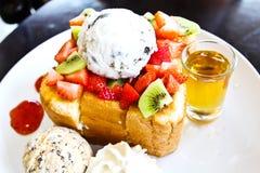 Honey toast with ice cream Royalty Free Stock Photo