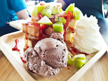 Honey toast with ice cream Royalty Free Stock Images