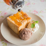Honey toast ice cream Royalty Free Stock Images