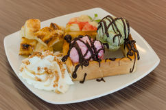 Honey toast and ice cream Stock Photography