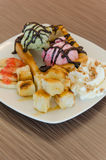 Honey toast and ice cream Royalty Free Stock Photography
