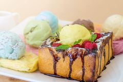 Honey toast. With icecream and fresh fruits Royalty Free Stock Photography