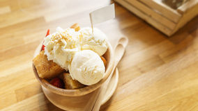 Honey toast  topping by ice cream Royalty Free Stock Photo