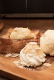Honey toast with whipping cream Royalty Free Stock Photos