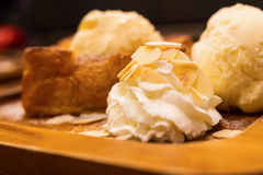 Honey toast with whipping cream Royalty Free Stock Images