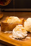 Honey toast with whipping cream Stock Image