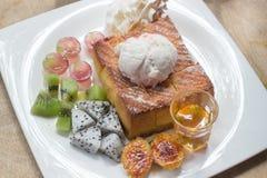 Honey toast on white dish royalty free stock photos