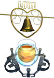 Honey trap and wedding bell set Royalty Free Stock Photo