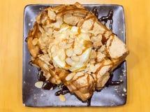 Honey Trost with Vanila Ice Cream stock photography