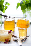 Honey variety, honeycomb in a glass jars . Royalty Free Stock Photo