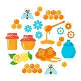 Honey vector flat icons set Royalty Free Stock Images